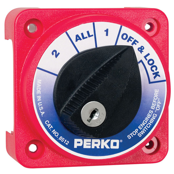 Perko Compact Medium Duty Battery Selector Switch w/Key Lock