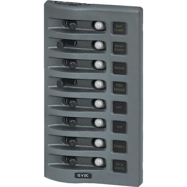 Blue Sea 4378 WeatherDeck Water Resistant Circuit Breaker Panel - 8 Position - Grey