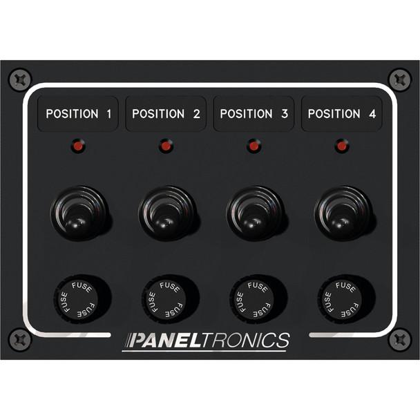 Paneltronics Waterproof Panel - DC 4-Position Toggle Switch & Fuse w/LEDs