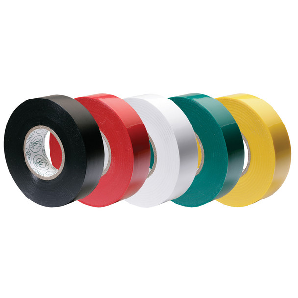 """Ancor Premium Assorted Electrical Tape - 1/2"""" x 20' - Black / Red / White / Green / Yellow"""