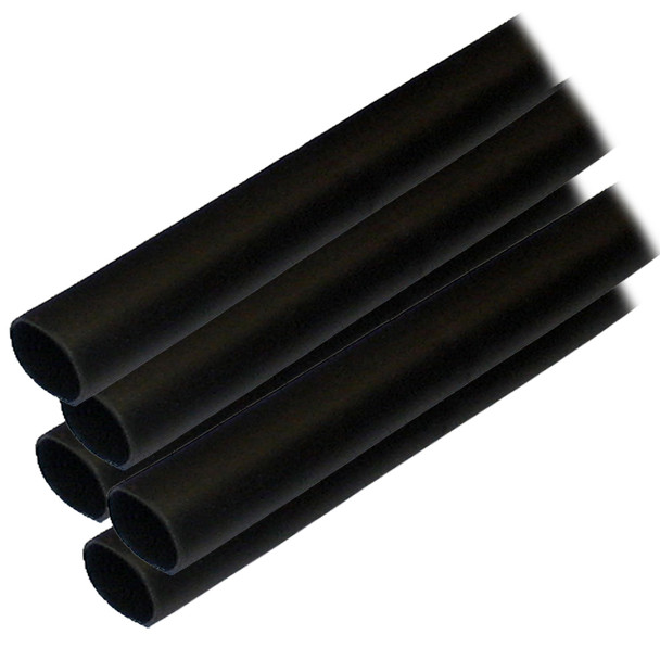 "Ancor Adhesive Lined Heat Shrink Tubing (ALT) - 1/2"" x 6"" - 5-Pack - Black"