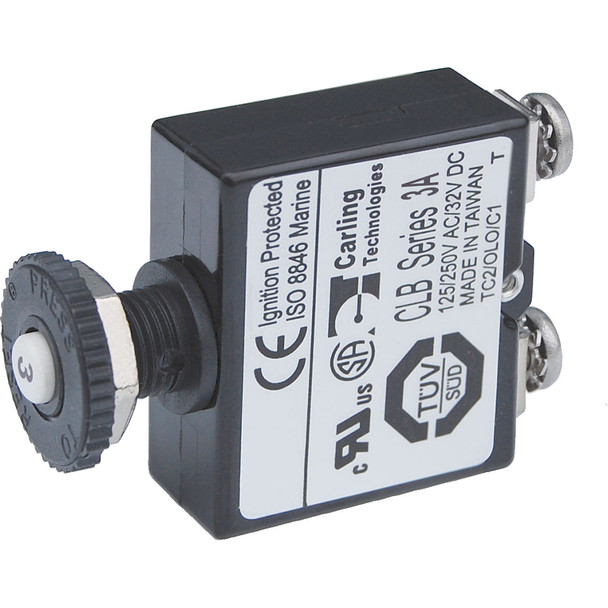Blue Sea Push Button Reset Only Screw Terminal Circuit Breaker - 3 Amps