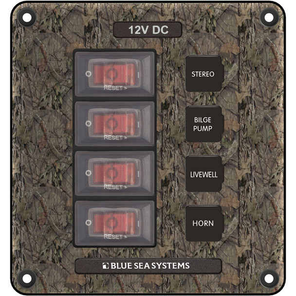 Blue Sea 4323 Circuit Breaker Switch Panel 4 Position - Camo