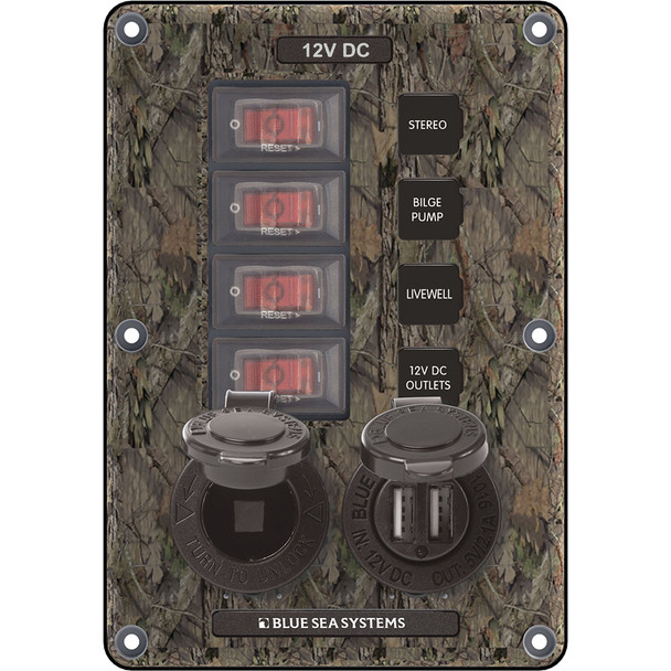 Blue Sea 4324 Circuit Breaker Switch Panel 4 Postion - Camo w/12V Socket & Dual USB