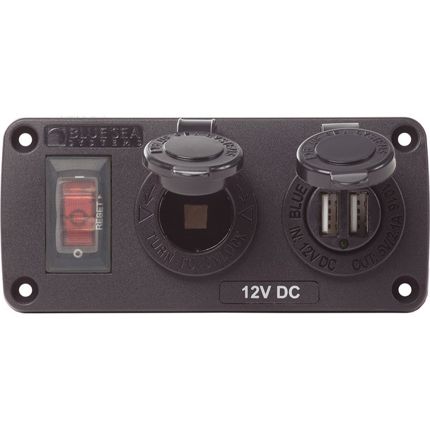 Blue Sea 4363 Water Resistant USB Accessory Panels - 15A Circuit Breaker, 12V Socket, 2.1A Dual USB Charger