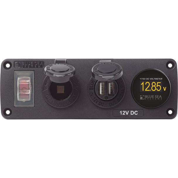 Blue Sea 4366 Water Resistant USB Accessory Panel - Circuit Breaker, 12V Socket, Dual USB Charger, Mini Voltmeter
