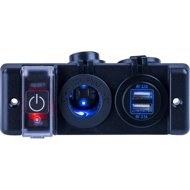 Sea-Dog Double USB & Power Socket Panel w/Breaker Switch