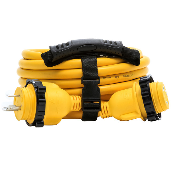 Camco 30 Amp Power Grip Marine Extension Cord - 25' M-Locking/F-Locking Adapter