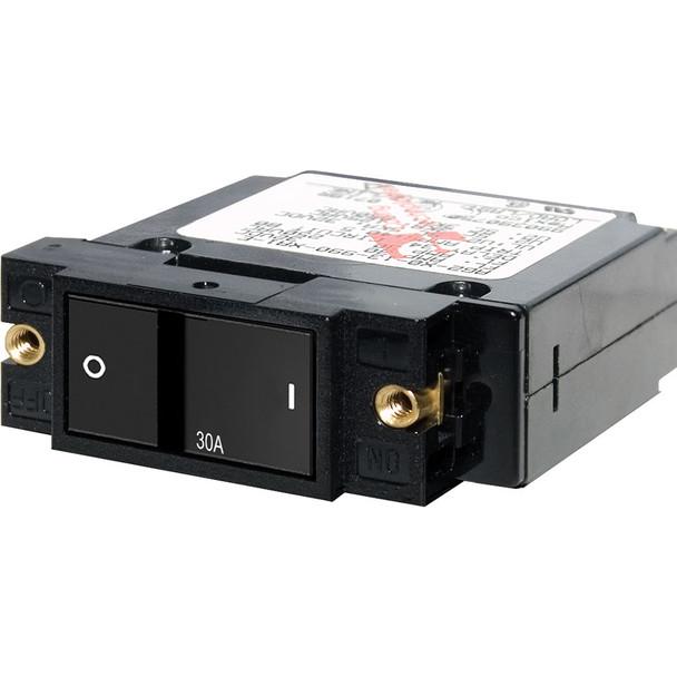 """Blue Sea 7406 Single Pole Small Case 2"""" Flat Rocker Circuit Breaker  -  30 Amp"""