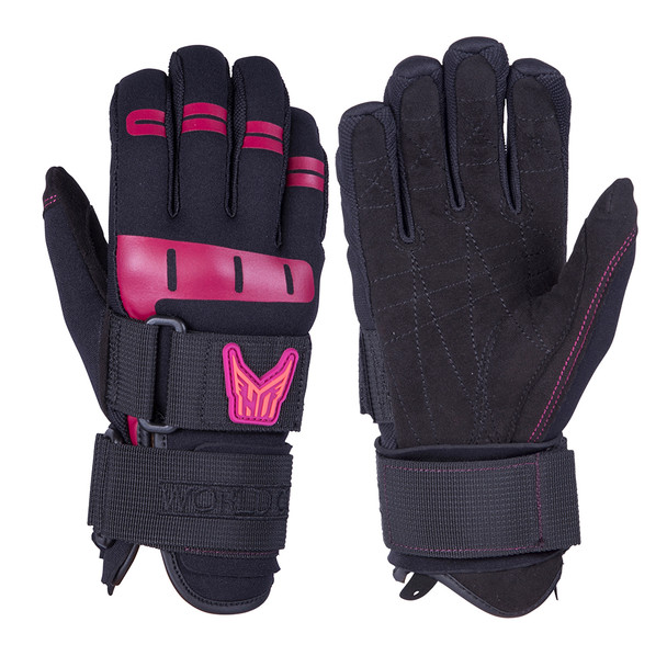 HO Sports Wakeboard Women's World Cup Gloves - Black/Pink - Large