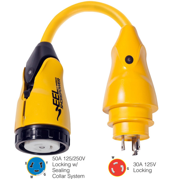 Marinco P30-504 EEL 50A-125/250V Female to 30A-125V Male Pigtail Adapter - Yellow