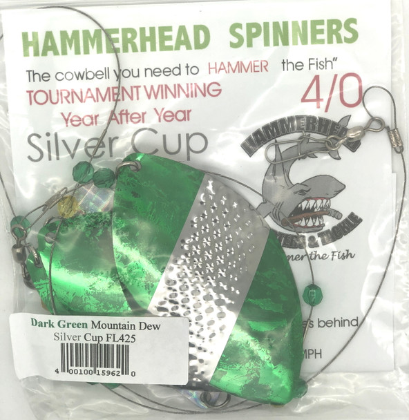 Hammerhead Custom Cowbell Spinners - 4/0 - Dark Green Mountain Dew - FL425