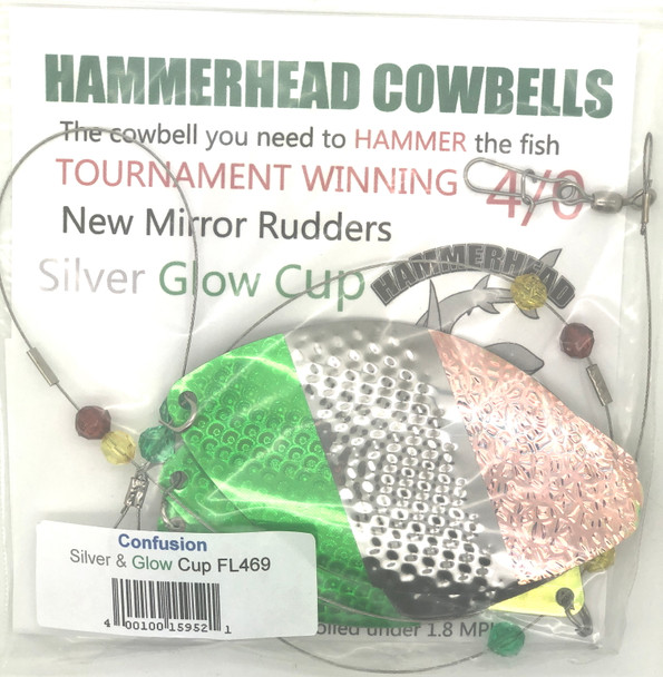 Hammerhead Custom Cowbell Spinners - 4/0 - Confusion - FL469