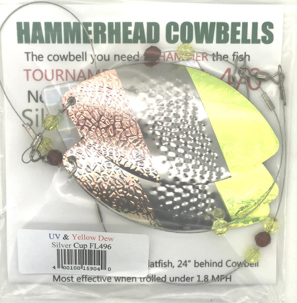 Hammerhead Custom Cowbell Spinners - 4/0 - UV & Yellow Dew - FL496