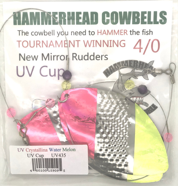 Hammerhead Custom Cowbell Spinners - 4/0 - UV & Chrystalina Water Melon - UV435