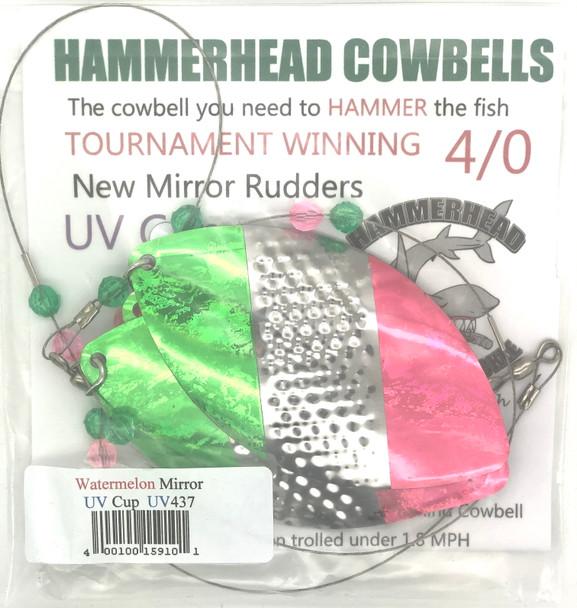 Hammerhead Custom Cowbell Spinners - 4/0 - UV Water Melon Mirror - UV437