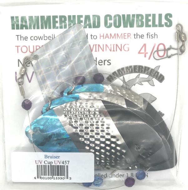 Hammerhead Custom Cowbell Spinners - 4/0 - UV Busier (Black & Blue) - UV457