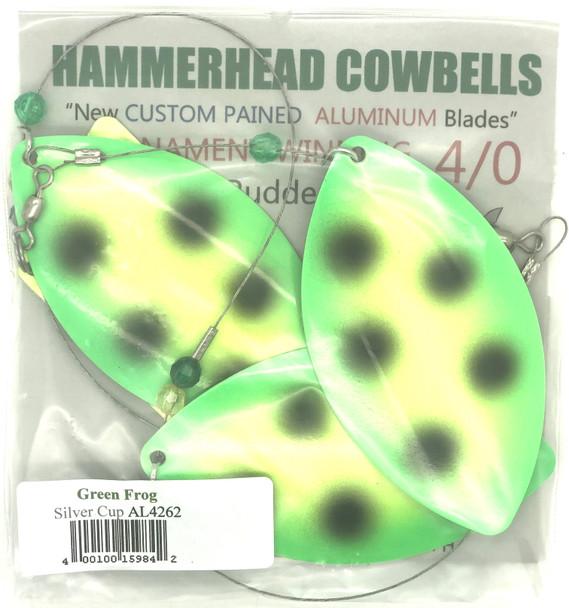 Hammerhead Custom Cowbell Spinners - 4/0 - Aluminum Green Frog - AL4262