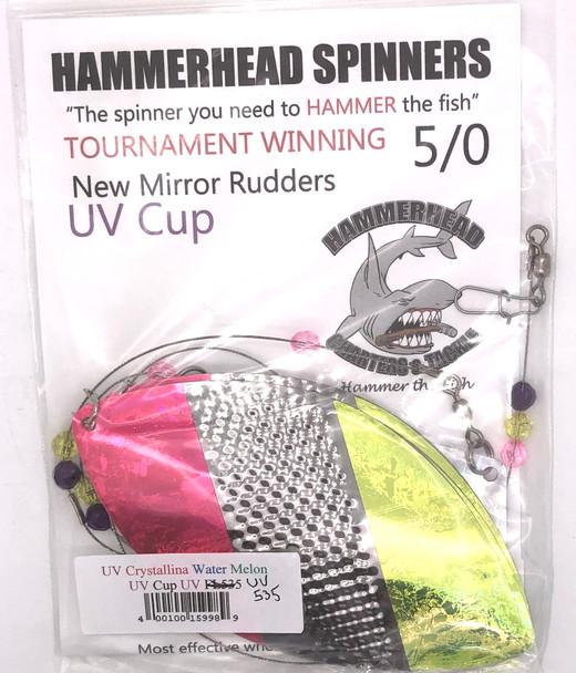 Hammerhead Custom Cowbell Spinners - 5/0 - UV Crystalina Water Melon - UV535
