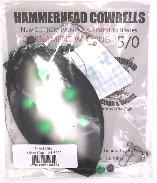 Hammerhead Custom Cowbell Spinners - 5/0 - Aluminum Frost Bite - AL5222