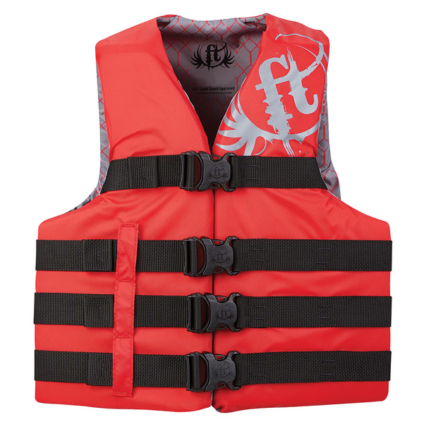 Full Throttle Teen Nylon Life Vest - 90lbs and Over - Red