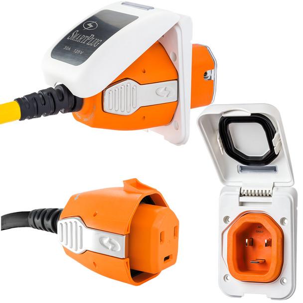 SmartPlug 30 Amp Non Metallic White Inlet & Plug Combo - Boat & RV