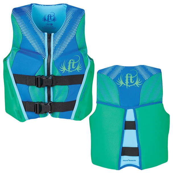 Full Throttle Hinged Rapid-Dry Flex-Back Life Vest - Youth 50-90lbs - Green