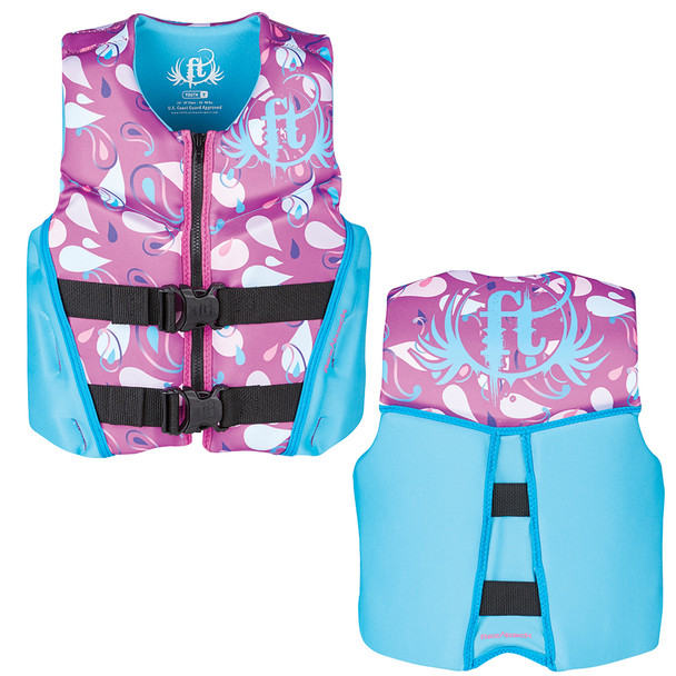 Full Throttle Hinged Rapid-Dry Flex-Back Life Vest - Youth 50-90lbs - Purple
