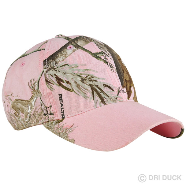 Dri Duck Relaxed Fit Pink Camo Running Buck Cap