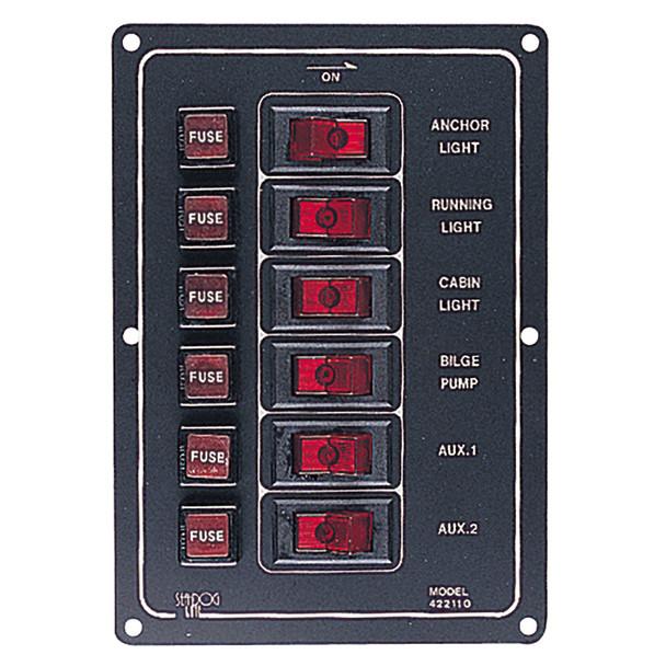 Sea-Dog Aluminum Switch Panel Vertical - 6 Switch