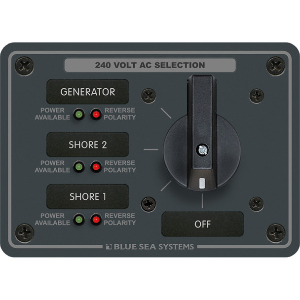 Blue Sea 8361 AC Rotary Switch Panel 65 Ampere 3 Positions + OFF, 3 Pole