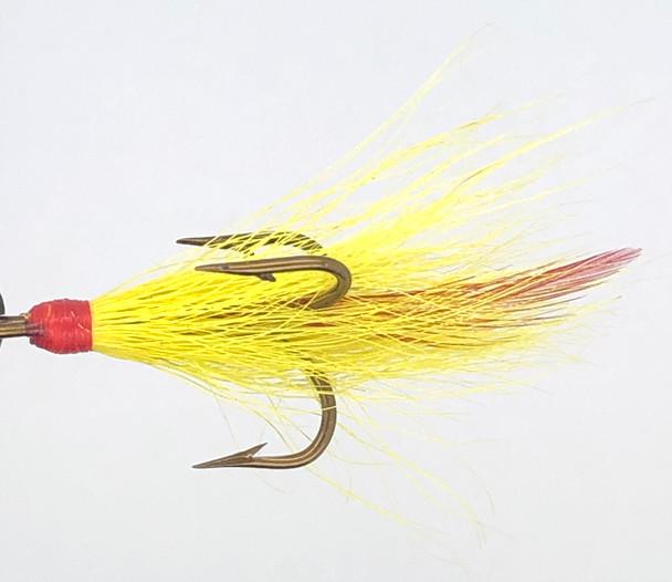 10 Flies -  Yellow Buck Red Head Red Tail Bronze 4 Mustad Treble Hook
