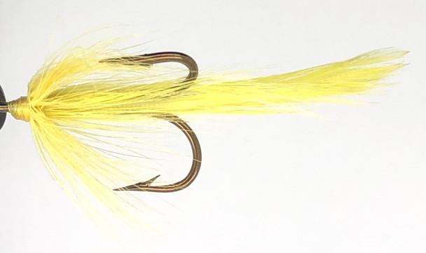 10 Flies -  Yellow Feather Yellow Head on Bronze 2 Mustad Treble Hook
