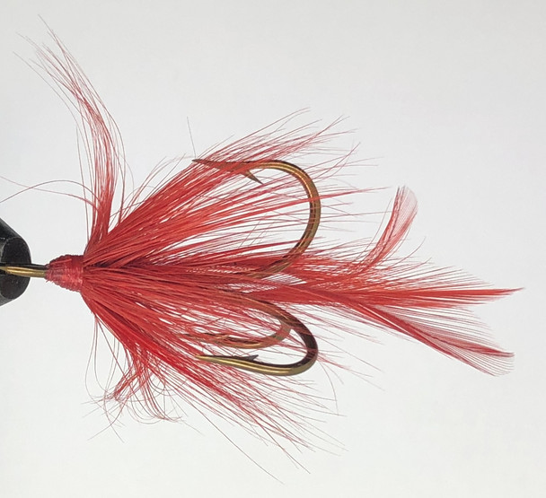 10 Flies -  Red Feather Red Head on Bronze 1/0 Mustad Treble Hook