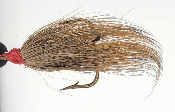 10 Flies -  Brown Bucktail w/ Red Head on Bronze 1 Mustad Treble Hook