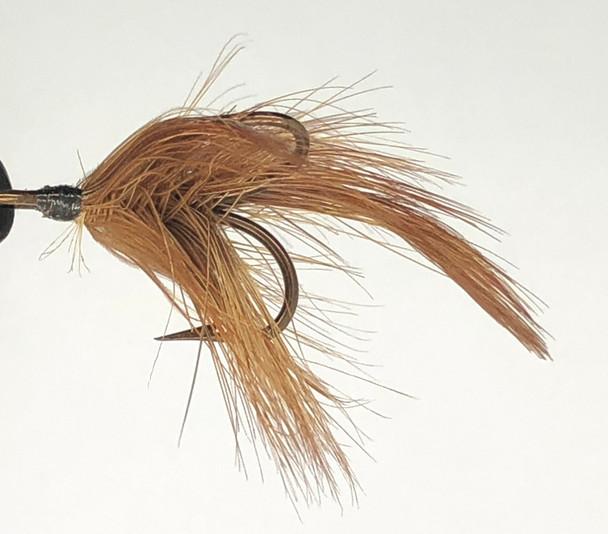 10 Flies -  Brown Feather w/ Black Head on Bronze 4 Mustad Treble Hook