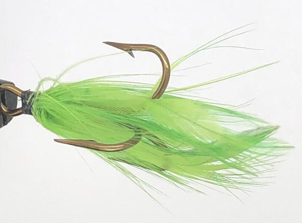10 Flies -  Green Feather Black Head on Bronze 6 Mustad Treble Hook