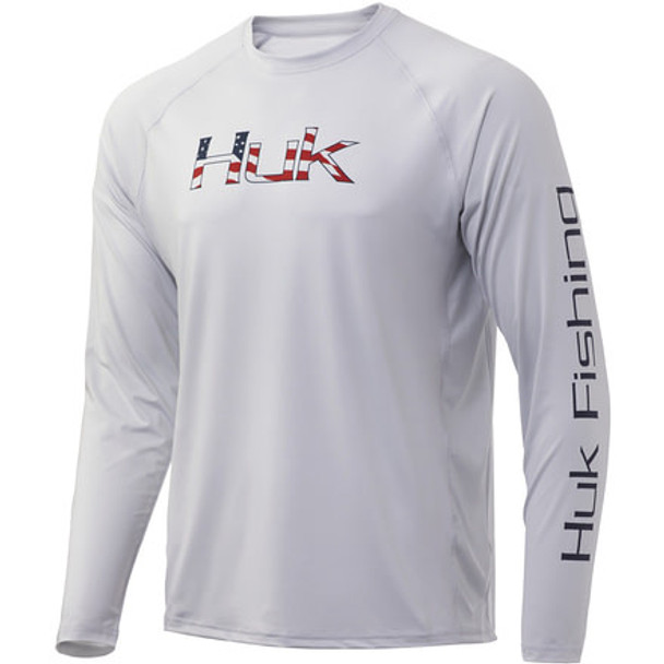 Huk Performance Fishing Americana Fill Pursuit Long Sleeve T-Shirt - Glacier
