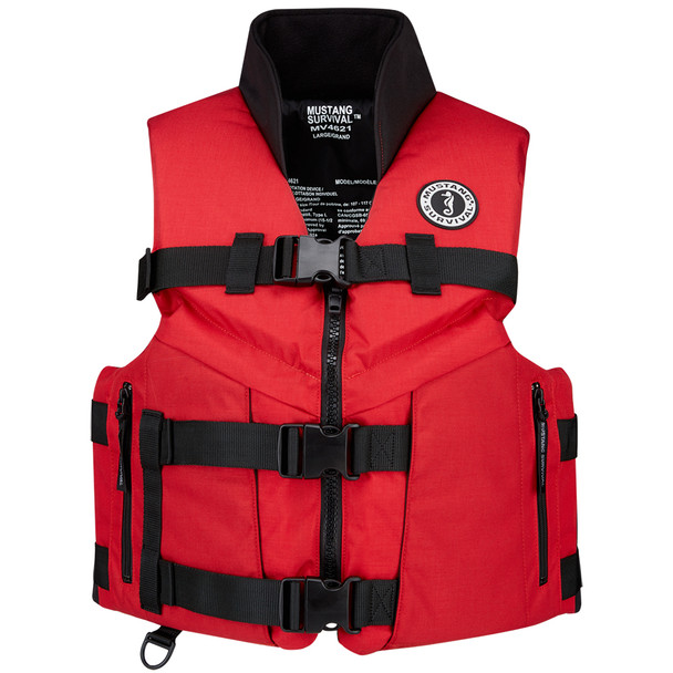 Mustang Accel 100 Fishing Vest - Large - Red/Black