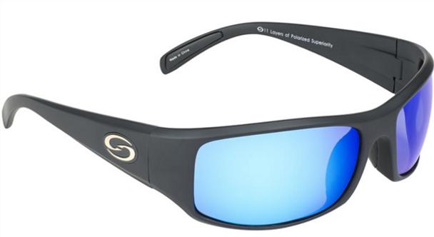 Strike King - S11 Optics Okeechobee Sunglasses - Matte Black Frame, Multi-Layer White Blue Mirror, Gray Base Lens.