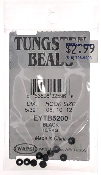 "Wapsi Tungsten Beads - 10 per pack - Black 5/32"""