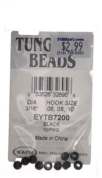"Wapsi Tungsten Beads - 10 per pack - Black 3/16"""