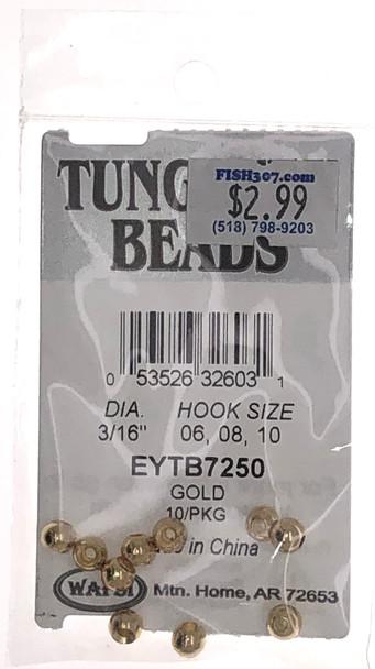 "Wapsi Tungsten Beads - 10 per pack - Gold 3/16"""