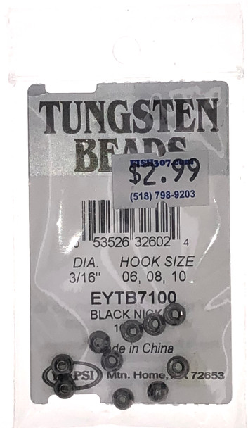 "Wapsi Tungsten Beads - 10 per pack - Black/Nickel 3/16"""