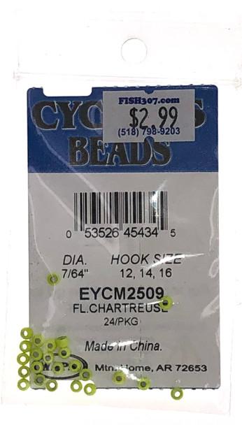 "Wapsi Cyclops Beads - 24 per pack - Fl. Chartreuse 7/64"""