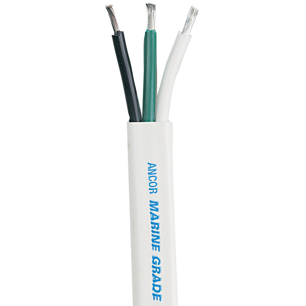 Ancor White Triplex Cable - 6/3 AWG - Flat - 50'