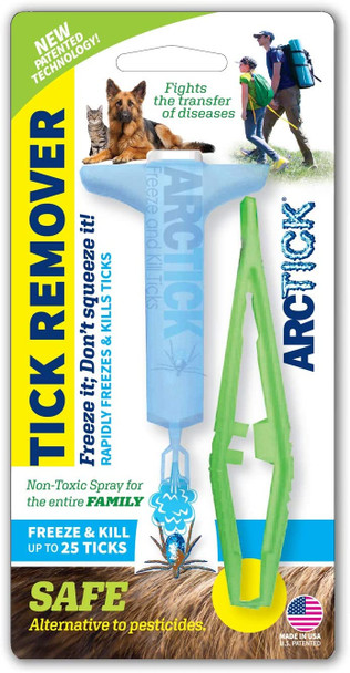 ARCTICK Tick Remover, Spray Freeze Ticks to Fight Disease Transfer, Non-Toxic, for Pets and Humans, Includes Tick Puller Tweezers
