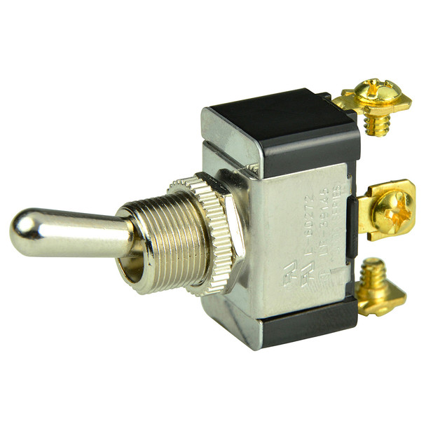 BEP SPDT Chrome Plated Toggle Switch - ON/OFF/(ON)