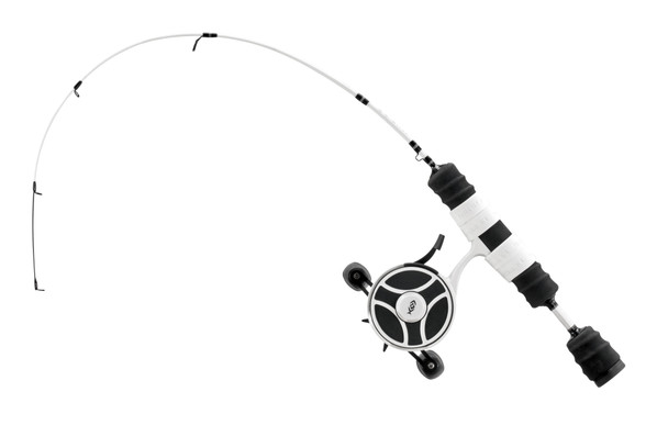 """13 Fishing - FreeFall Ghost / Fate V3 Ice Combo 27"""" L (Light) - Tickle Stick Tip with Tennessee Handle and Evolve Reel Wraps - RH Retrieve"""