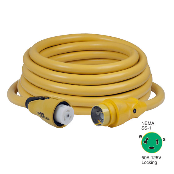 Marinco CS503-50 EEL 50A 125V Shore Power Cordset - 50' - Yellow